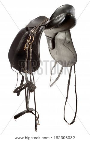 saddle for horse from leather isolated on white