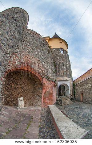View of old Palanok Castle or Mukachevo Castle Ukraine built in 14th century