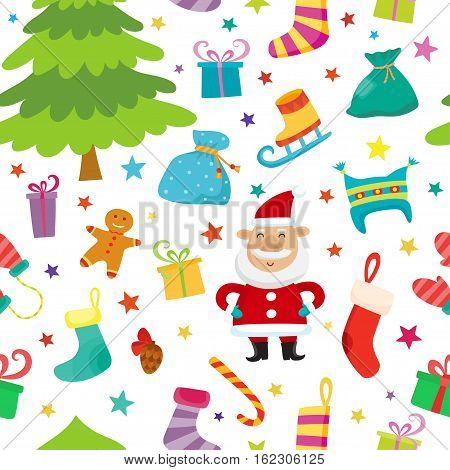 Christmas seamless simple pattern with colorful stars, christmas tree, Santa, gifts. Seamless pattern can be used for wallpapers, textile, surface textures.