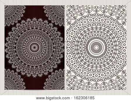 A4 Format Cards Decorated With Mandala In Black And White Colors.vector Islamic Template For Restaur