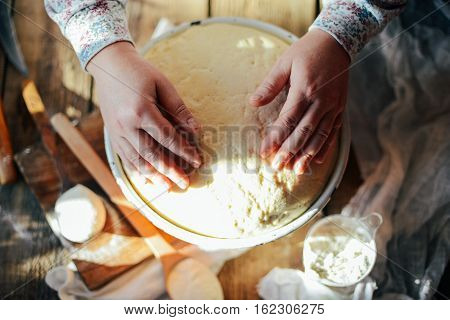 Close Up View Of Baker Kneading Dough. Homemade Bread. Hands Pre