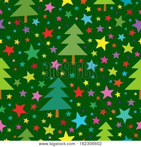 Christmas seamless simple pattern with colorful stars and christmas trees. Seamless pattern can be used for wallpapers, textile, surface textures.