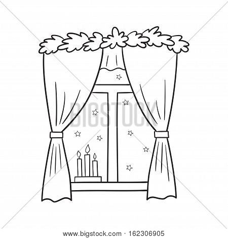 Vector illustration of a Christmas window view with a stars and candles