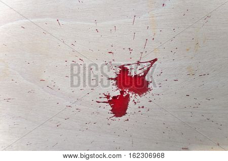 Red Blood On Wood