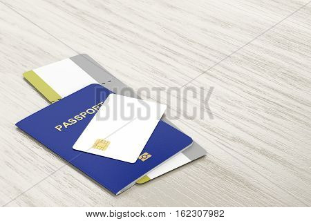 Passport and blank bank card and boarding pass on wooden table, 3D illustration