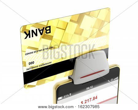 Paying with bank card on smartphone and credit card reader, 3D illustration