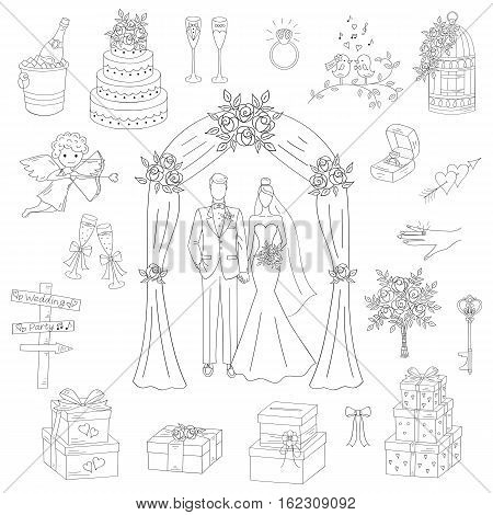 Vector set of hand drawn wedding icons bride and groom under wedding arch, cupid, cake, bouquet, ring, gift box, birdcage, champagne isolated doodle sketch illustrations.