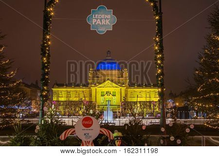Zagreb, Croatia, December 19, 2016: King Tomislav Square in Zagreb, Christmas, Art Pavilion and ice skating park, Advent winter ambient, popular tourist event