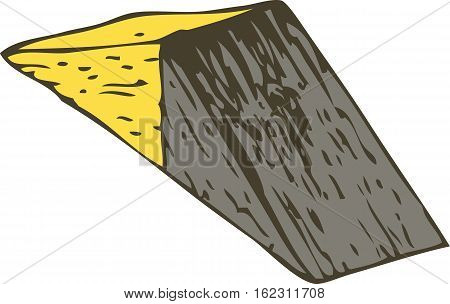 Yellow and Black Wooden Triangular Prism. Isolated on White background