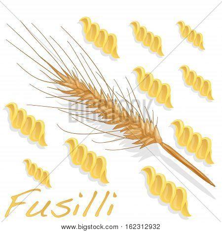 fusilli pasta isolated illustration on white background .