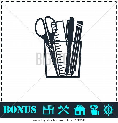 Office tools icon flat. Simple vector symbol and bonus icon