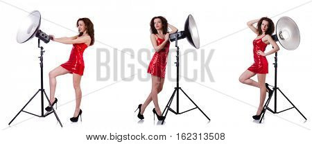 Woman wearing red dress isolated on white