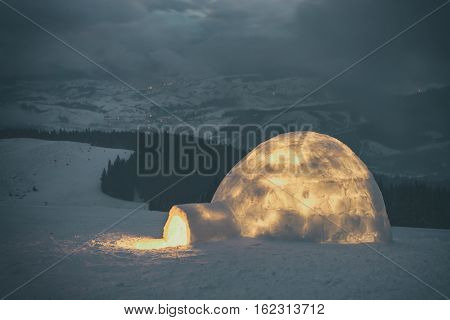 igloo in the high mountain. Toned like Instagram filter