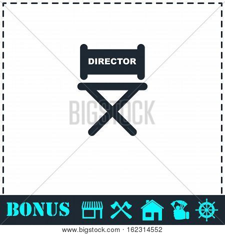 Director chair icon flat. Simple vector symbol and bonus icon