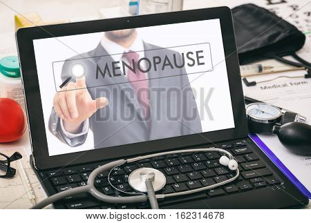 Menopause Written On A Computer's Screen