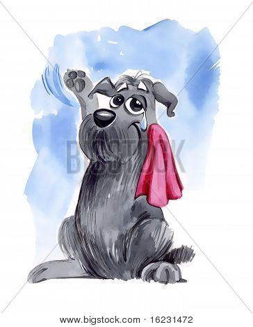 Dog Waving Goodbye