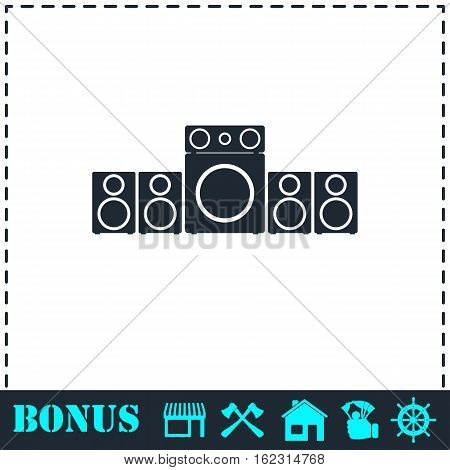 Home theater icon flat. Simple vector symbol and bonus icon