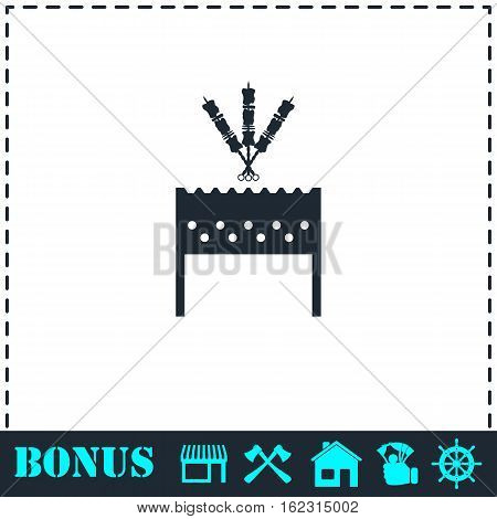 Barbecue grill with shashlik icon flat. Simple vector symbol and bonus icon