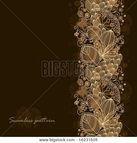 Seamless floral pattern with dark background and place for text