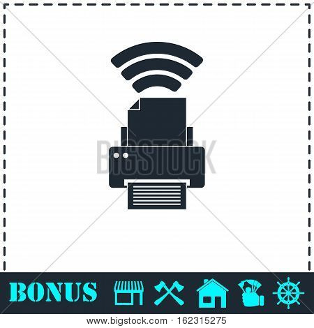 Printer with wi-fi connection icon flat. Simple vector symbol and bonus icon