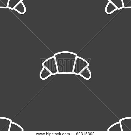 Croissant Bread Icon Sign. Seamless Pattern On A Gray Background. Vector