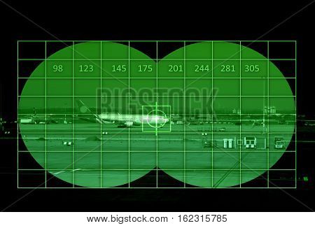 Airport with airliner - view through night vision