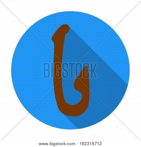 Bone fish hook icon in flat style isolated on white background. Stone age symbol vector illustration.