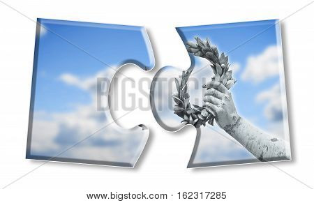 Laurel wreath hand held by a bronze statue in puzzle shape