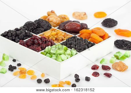 Colorful mix of dried fruit, raisins, apricots, figs, prunes, goji, cranberries, blueberries, prunes