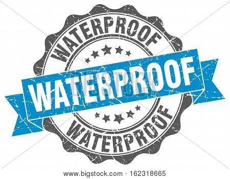 waterproof. stamp. sign. seal. round. retro. ribbon