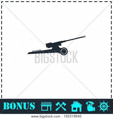 Howitzer icon flat. Simple vector symbol and bonus icon