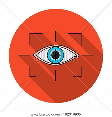 Focus of eye in the virtual reality icon in flat style isolated on white background. Virtual reality symbol vector illustration.