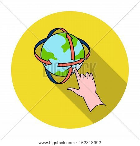 Rotation of globe in virtual reality icon in flat style isolated on white background. Virtual reality symbol vector illustration.
