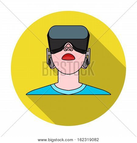 Player with virtual reality headflat icon in flat style isolated on white background. Virtual reality symbol stock vector illustration.