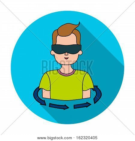 Rotation of player in the virtual reality icon in flat style isolated on white background. Virtual reality symbol vector illustration.