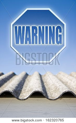 Warning asbestos concept. Warning asbestos on road sign