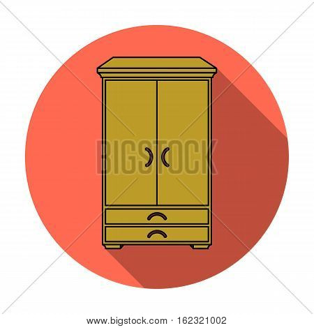 Closet icon in flat style isolated on white background. Furniture and home interior symbol vector illustration.