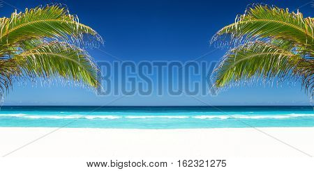 Tropical Beach With Coconut Palm Tree Leafs, Turquoise Sea Water And White Sand