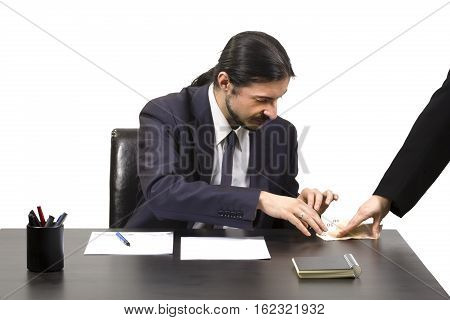 Businessman Accepting A Bribe In Payoff
