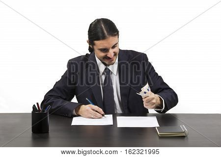 Greedy Ambitious Man Working At His Desk