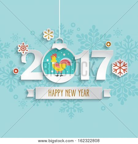 Happy New Year 2017 Design With Paper Cut Decoration Ball And Rooster