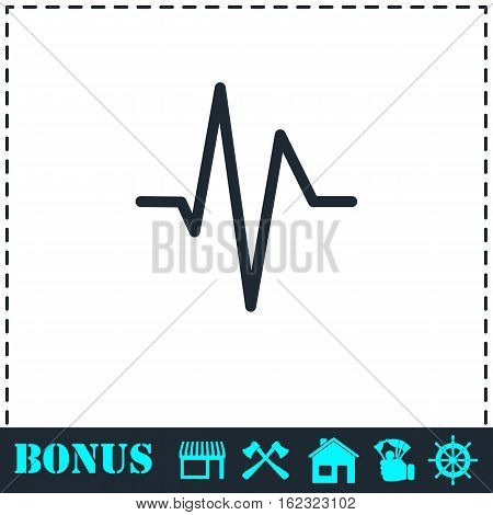 Heart beat cardiogram icon flat. Simple vector symbol and bonus icon