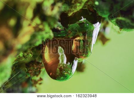 Two drops of resin with green background