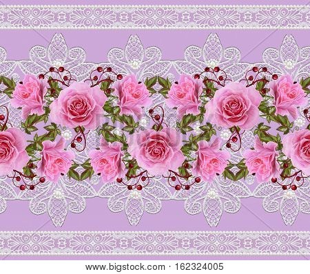 Horizontal floral border. Pattern seamless. Flower garland of delicate pink roses green leaves and bright red berries. Openwork lace weaving pearl composition beads.