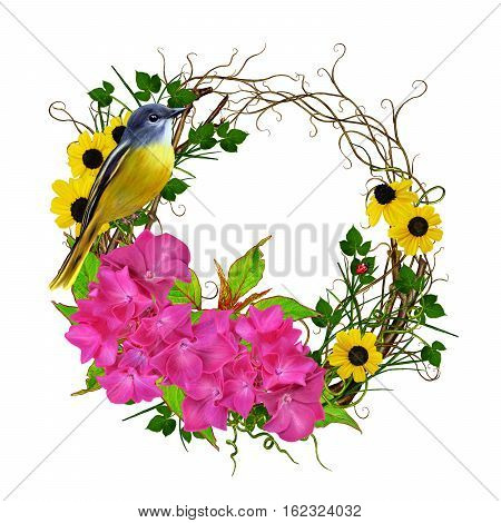 Flower arrangement garland wreath. Branch bright pink hydrangeas small yellow flowers green leaves. Weaving thin branches. Beautiful yellow bird sitting on a branch. Isolated on white background.