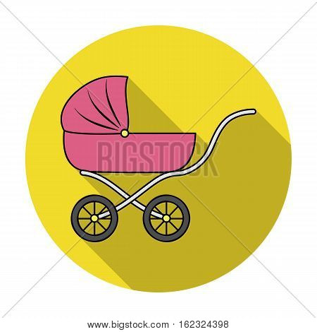 Pram icon in flat style isolated on white background. Baby born symbol vector illustration.