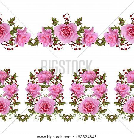 Pattern seamless floral border.Garland of flowers. Beautiful bright pink rose buds leaves