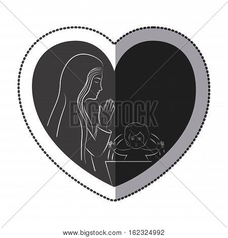 Jesus and Mary inside heart icon. Religion faith pray and belief theme. Isolated design. Vector illustration