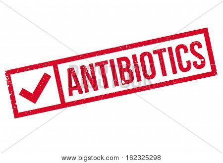 Antibiotics stamp. Grunge design with dust scratches. Effects can be easily removed for a clean, crisp look. Color is easily changed.