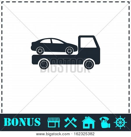 Tow car evacuation icon flat. Simple vector symbol and bonus icon